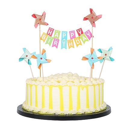 Amazon PALASASA Small Windmill And Colorful Happy Birthday