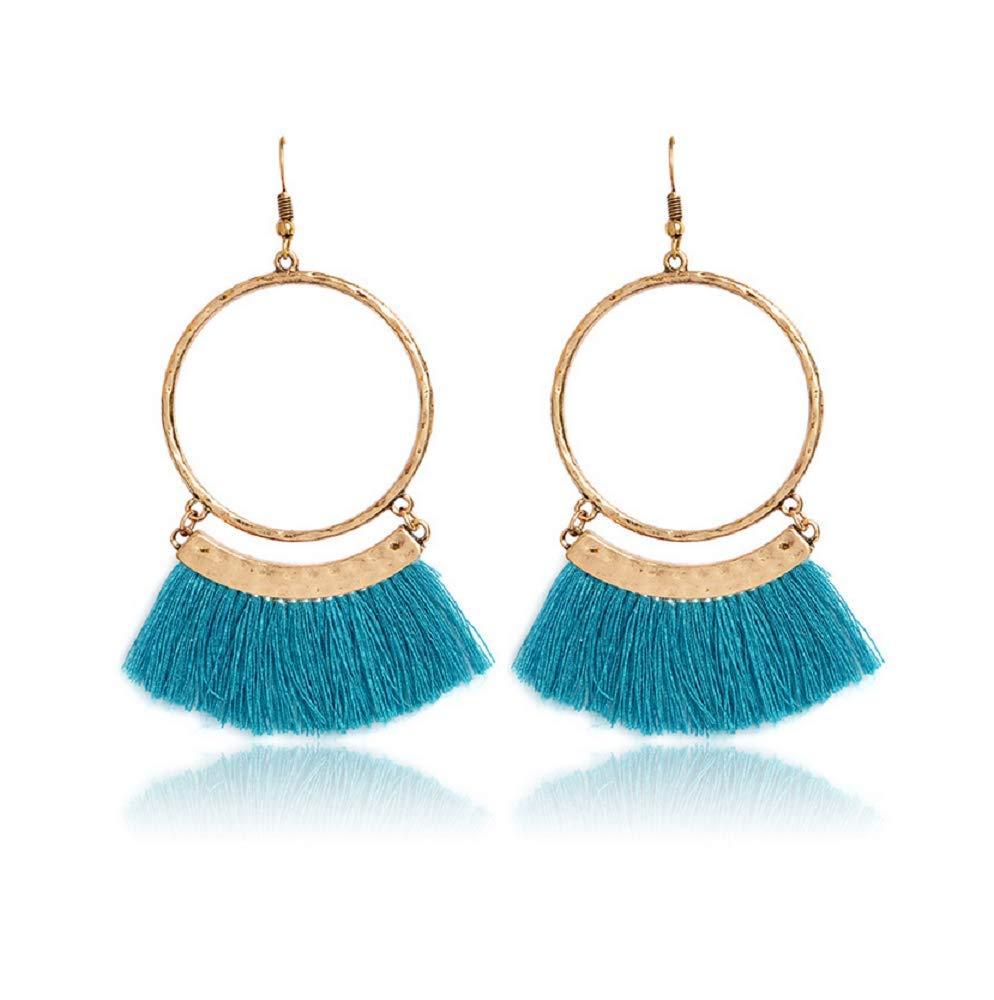 Jiami Fan Tassel Earrings Hoop Drop Dangle Earrings Fish Hook Earring for Daily Wear, Wedding, Party etc Purple Jiami-3