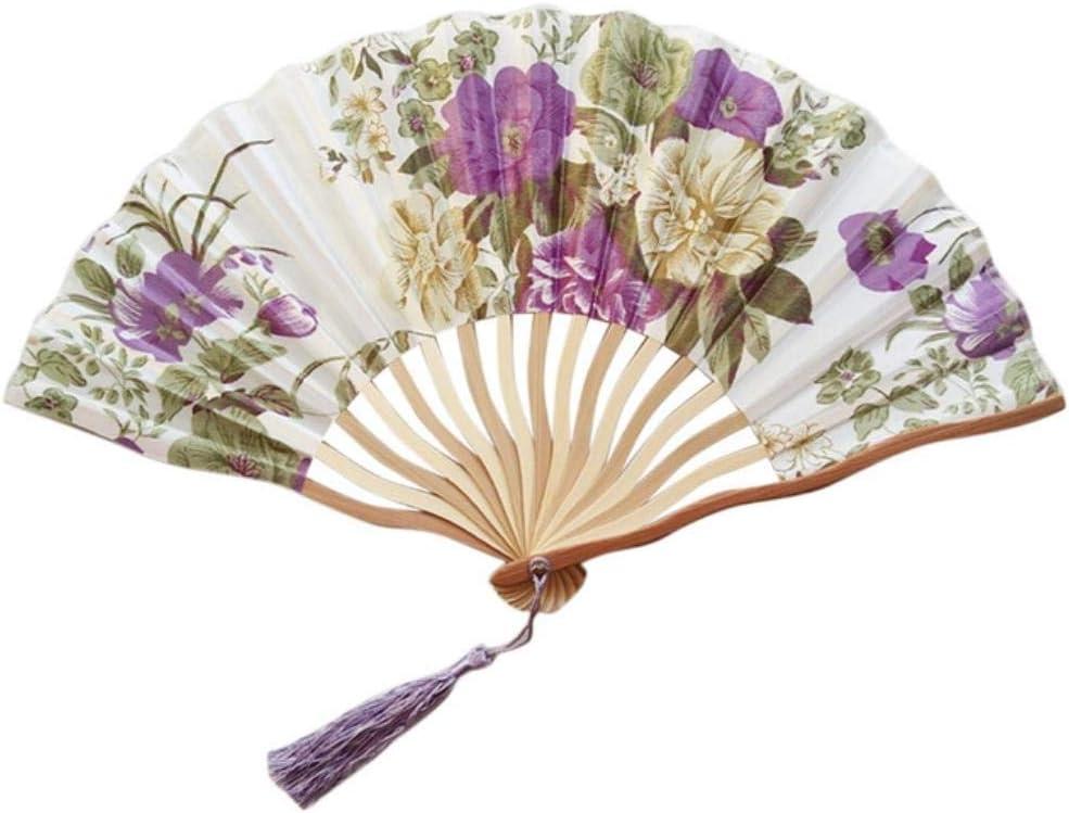 JIN Folding Fan in Hand Held Fan Pieghevole Partito Del Merletto Piegante Di Seta Hand Held Fan Flower,a D