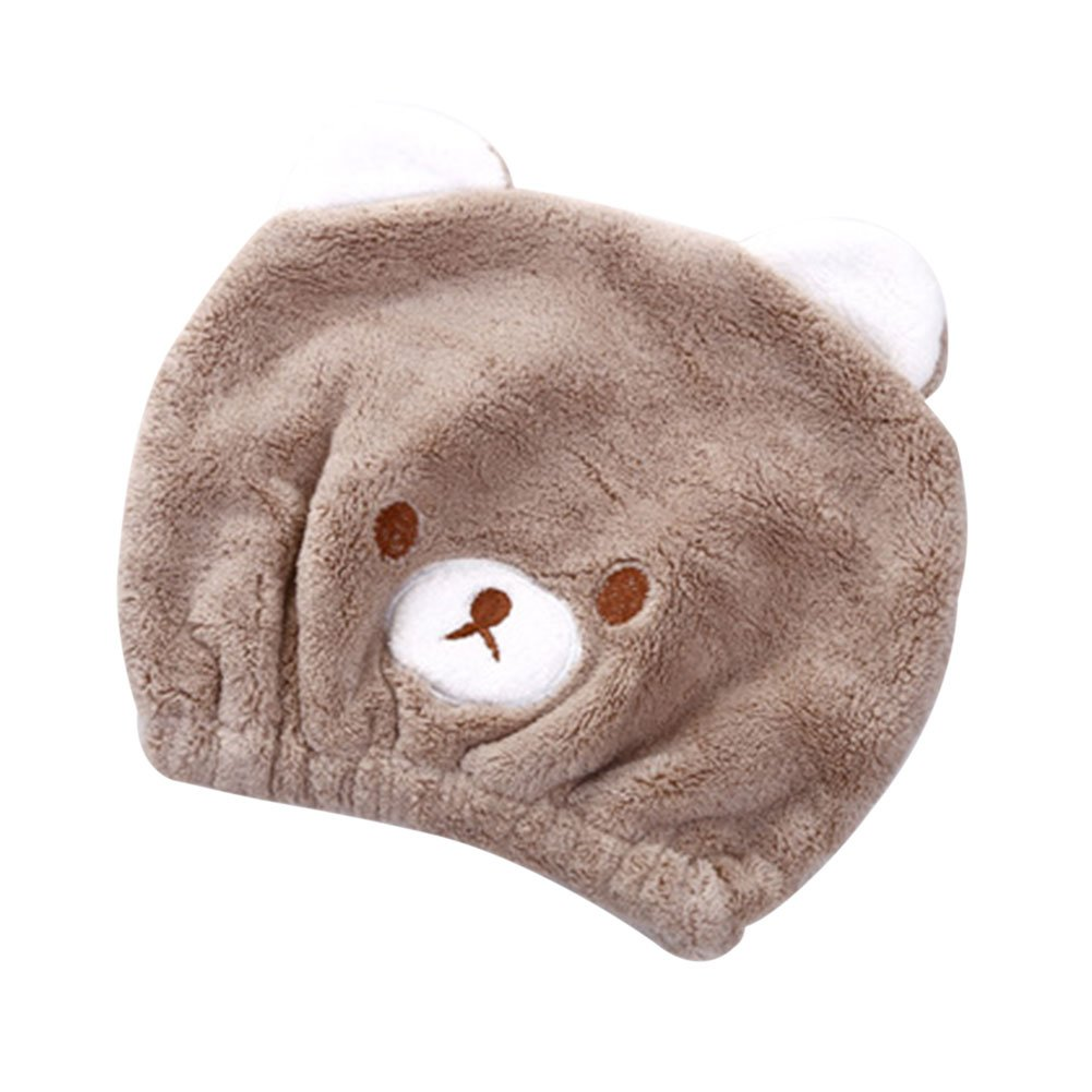 Girls' Ultra Absorbent Hair Drying Wrap Towel Hat Cartoon Cute Bear embroidery Coral Velvet Wet Hair Dry Turban Wrap Quick Dry Head Towel Cap Hat for Bath Shower Washing Hair Spa Towel for Kids IBLUELOVER