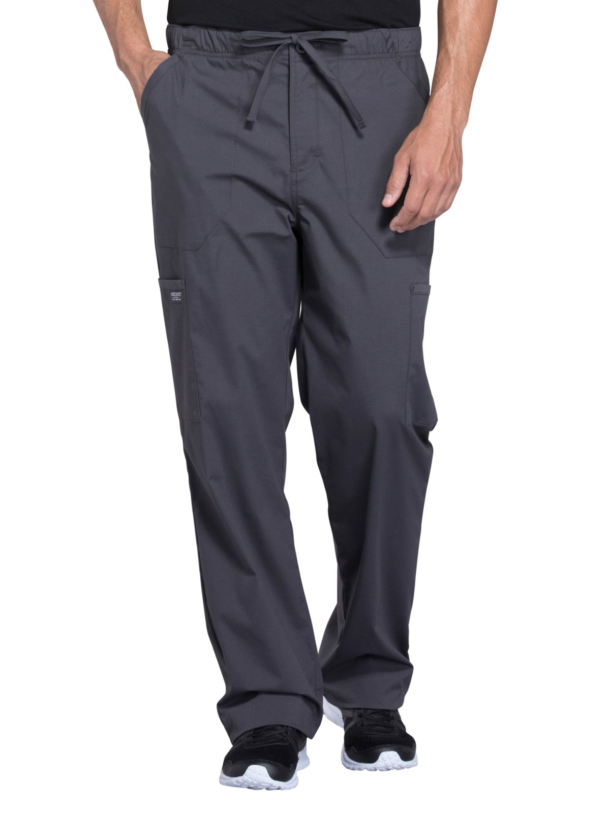 Cherokee WW Professionals WW190 Men's Tapered Leg Drawstring Cargo Pant Pewter L
