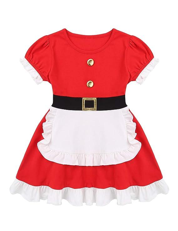 Agoky Vestido Navidad Papá Noel para Niña Vestido Princesa con ...