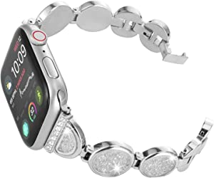 Fohuas bling crystal Band for Apple Watch 42mm/44mm Series 5 4 3 2 1, Adjustable Stainless Steel iWatch Bracelet Fashion Rhinestone Wristband bling Strap for iwatch silver