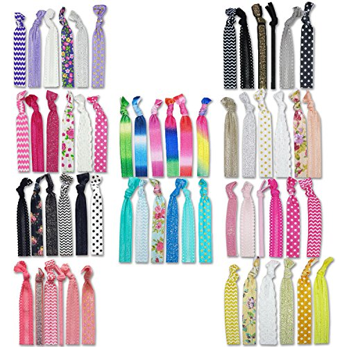 Floral Hair Elastic (Hair Ties 60 Pcs Pack Pony Tail Holder Accessories Bands Elastic for Girls Women Baby Wedding Gift Kit No Crease)