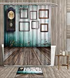 homefeel Clock Shower Curtain Waterproof A Vintage Clock and Empty Picture Frames in an Old Room Wooden Backdrop Print Fabric Bathroom Decor Set with Hook 36x72 inch Green and Brown gift bath rug