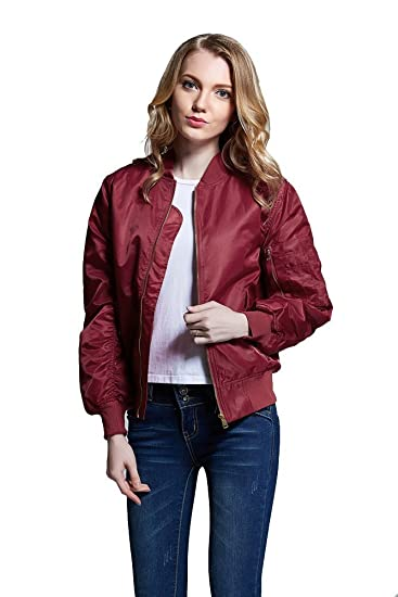Avidace Classic Ma1 Bomber Jacket Women Nylon Quilted Solid Size Xs