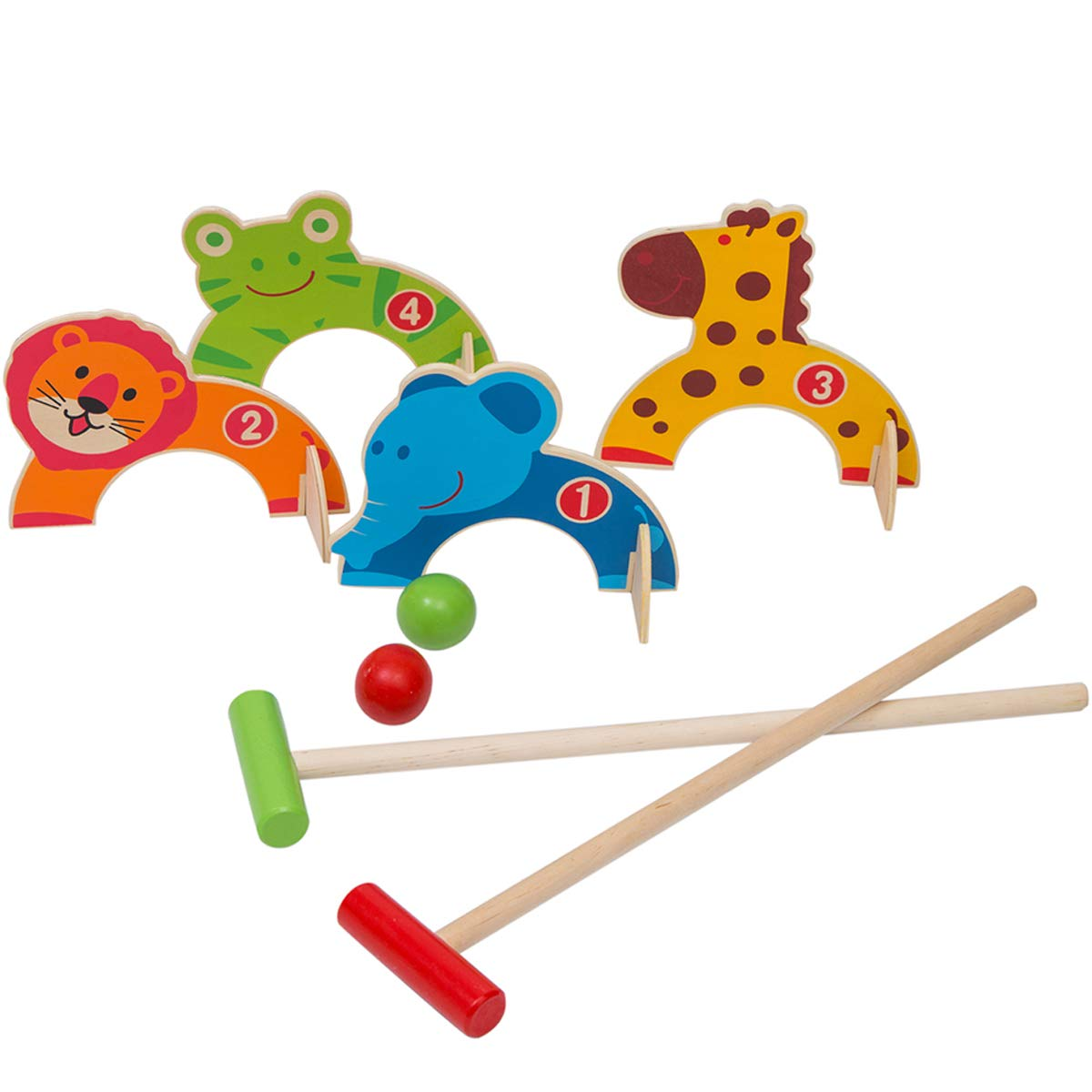 Wondertoys Wooden Animals Croquet Set Golf Toys Early Educational Game for Children