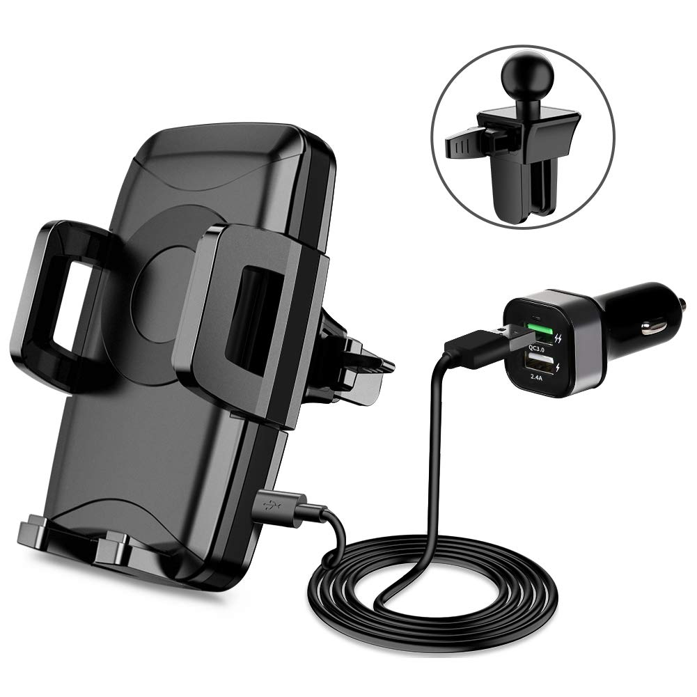 Miracase Wireless Car Charger, Car Mount Charger with Air Vent Phone Holder, Fast Charging 10W for Samsung Galaxy S8, 7.5W for iPhone Xs/Xs Max/X/8/8 Plus (USB Car Charger Included)