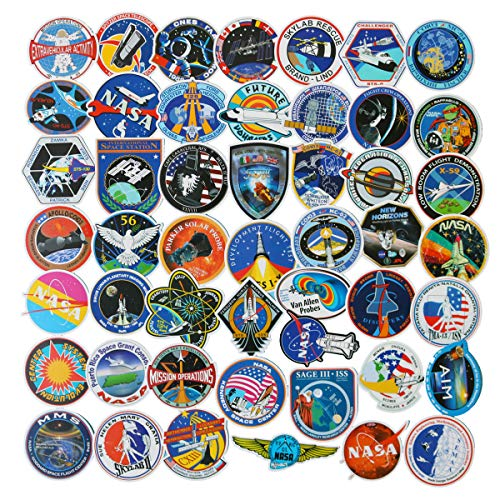 Spaceship Sticker - NASA Stickers for Laptop 49PCS Space Explorer Galaxy Decals for Water Bottle Hydro Flask Car Bike Bumper Skateboard Luggage, Spaceman Spacecraft Universe Planet Logo Sticker (Spaceship)