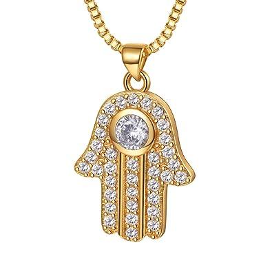 f816e0b931e2 Collar Mujer Chapado en Oro Colgante de Mano de Fátima con Cadena Veneciana  con Zirconía 1ct Joyas de Suerte  Amazon.es  Joyería