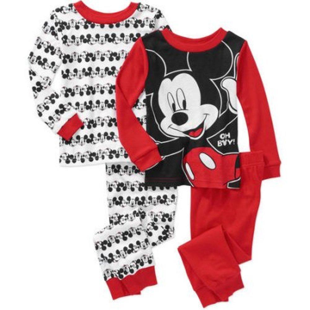 Disney Mickey Boy 4 PC Long Sleeve Tight Fit Cotton Pajama Set Size 3T