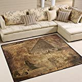 ALAZA Vintage Egyptian Pyramid Area Rug Rugs Carpet for Living Room Bedroom 7'x5′ For Sale