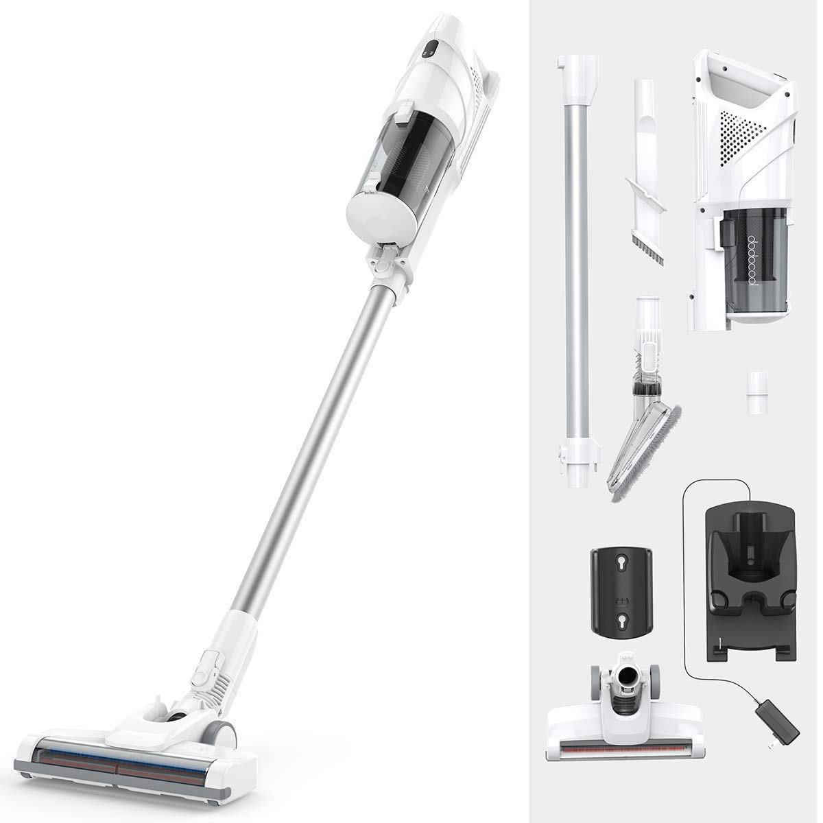 dodocool Upright Cordless Vacuum Cleaner, Bagless 2 in 1 Handheld Vacuum Cleaner with Power 2200mAh Rechargeable Battery, Lightweight Design Crevice Tool Brush Accessories for Home and Car Cleaning