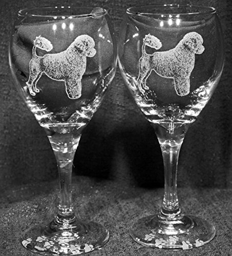 Muddy Creek Reflection Portuguese Water Dog Laser Etched Wine Glass Set (2, TDW)