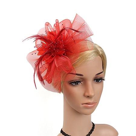 Sunbobo Donna Elegante Fascinator Cappello da Sposa Piuma Hairband Headwear  Fiore Accessori per Capelli Cocktail Royal Ascot Clip Tea Party Headwear per  ... ba99e0273438