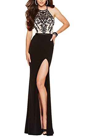 GMAR Womens High Slit Embroidery Prom Dresses Halter Neck Evening Gown