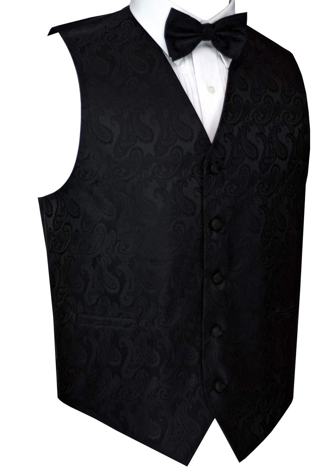 Men's Formal, Prom, Wedding, Tuxedo Vest, Bow-Tie & Hankie Set in Black Paisley - M by Best Tuxedo