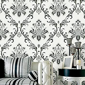 HaokHome 1004 Damask Wallpaper Rolls Off White Black Silver Textured Wall Decoration 208 X 328ft