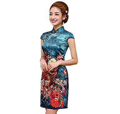 ACVIP Damen Cheongsam Qipao Kurzes Blumendruck Polyester Chinesische ...