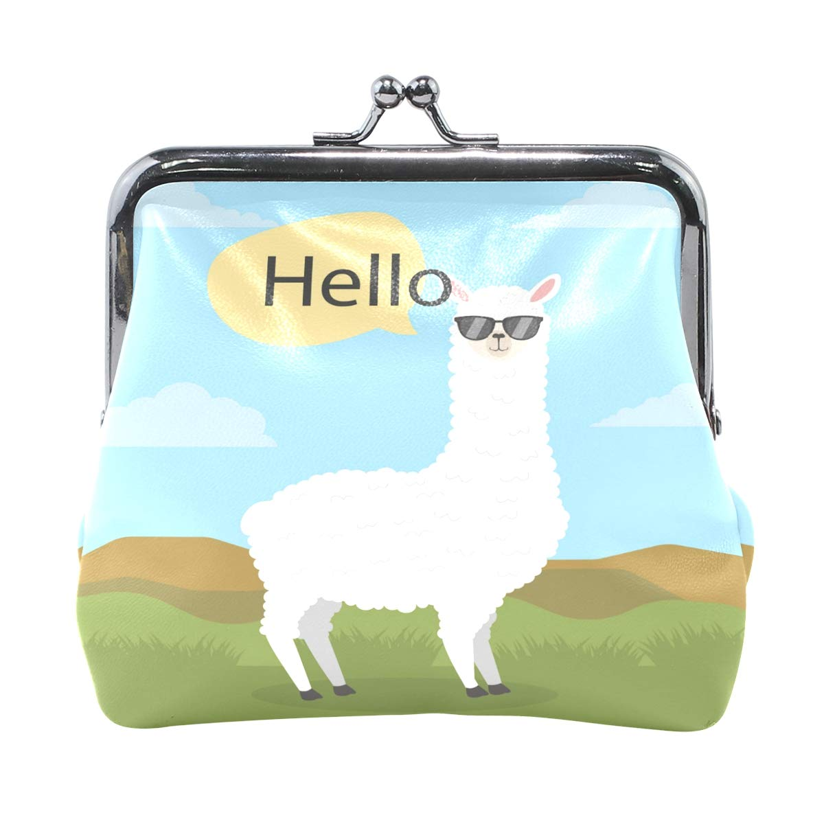 Ethel Ernest Hello Alpaca With Glasses Coin Wallets Mini Purse for Womens Girls Ladies