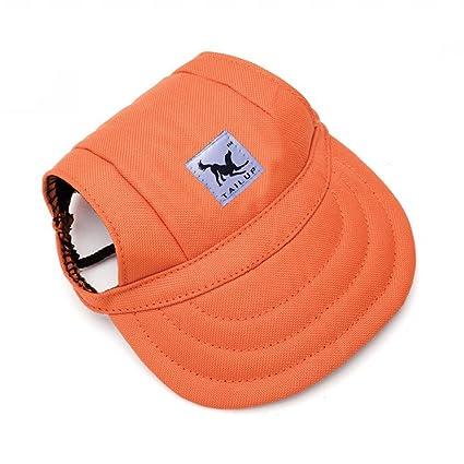 plus de photos trouver le prix le plus bas nouveaux styles Sijueam Casquette de Baseball Chapeau avec Trous D'Oreilles à Mentonnière  Anti Soleil Réglable pour Petit Chien Chat Chiot Animaux (Taille S, Orange)