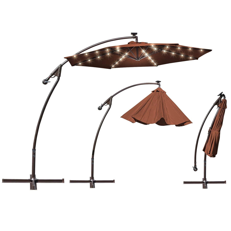 BenefitUSA 9 Cantilever Patio Umbrella 40 LED Light Outdoor Garden Sunshade Brown