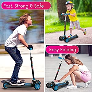 "Scooter For Kids, Maxi Foldable Kick Scooter Deluxe, handlebars adjustability from age 5-12, Surface-safety Balance Technology, 2""widthX3 Wheels, 24 Months Guarantee, eBookGift ""Talented Kids Secrets"""