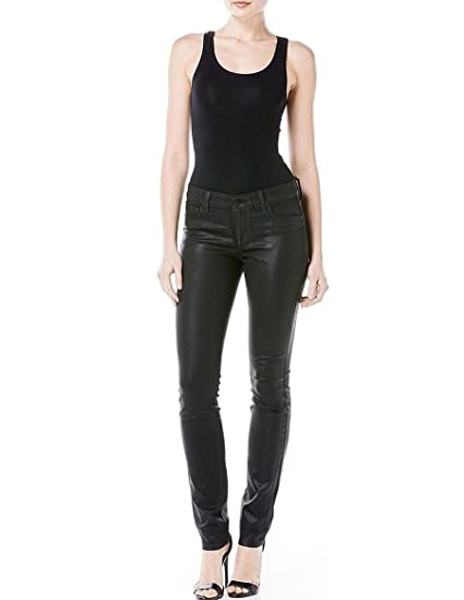 55a08e0f9867e Amazon.com: Level 99 Women's Stretch Mid Rise Coated Skinny Jeans. Size:  32/14. Color Black.: Sports & Outdoors