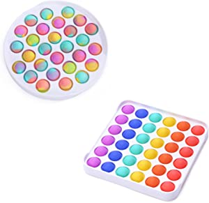 NVN Bubble Sensory Push Pop Fidget Toy for Kids and Adults, Autism and Special Needs Stress Reliever, Anti-Anxiety Food Grade Silicon Squeeze Sensory Toy Set of 2, Ombre + Rainbow