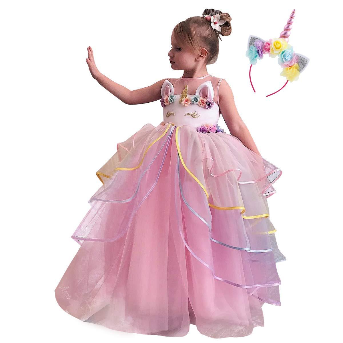 Niña Vestido de Fiesta Princesa Disfraz de Unicornio ...