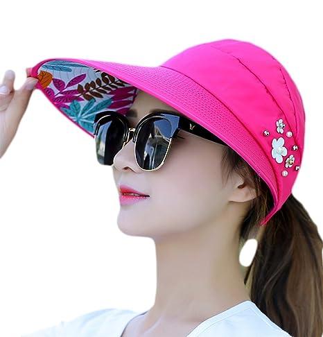 doitsa gorra mujer verano visera Cap sombrero de sol plegable Voyager en  plein air gorra decoración 66065cd81bd