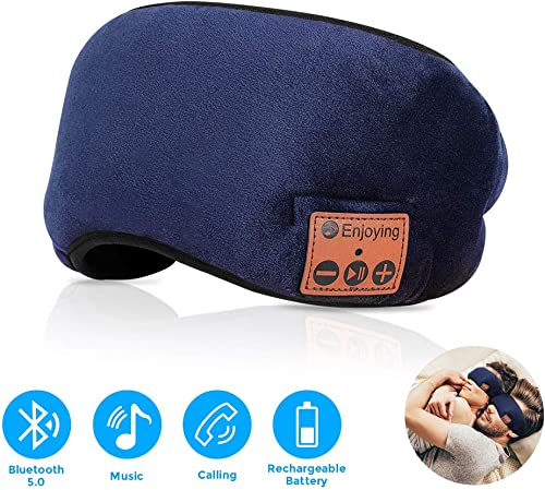 Bluetooth Sleep Mask,Bluetooth Eye Mask for Sleeping,Sleep Headphone Upgrade Bluetooth 5.0 Sleep Mask Noise Canceling HD Stereo Sound Soft Sleep Eye Mask for Sleep,Travel and Relaxation-Long Play Time