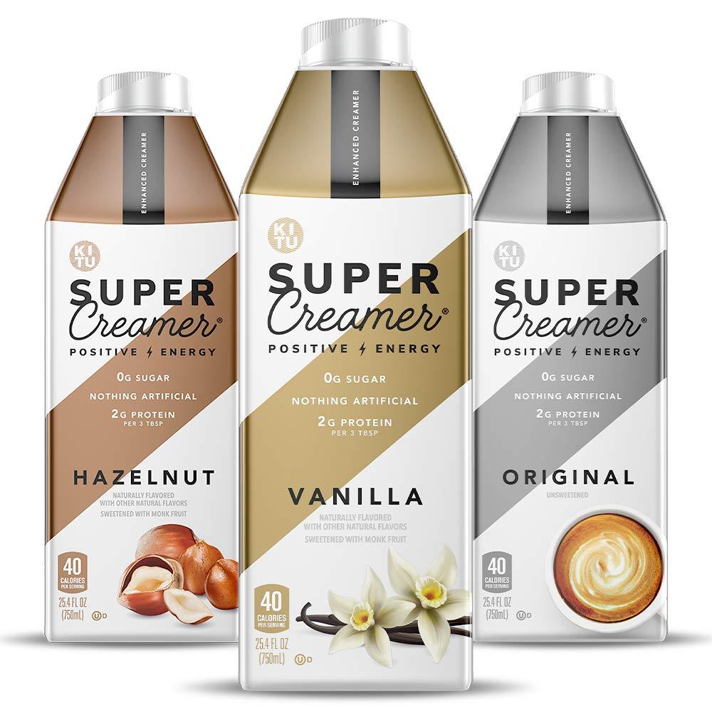 Kitu Super Coffee Creamer, SugarFree Coffee Creamer (0g Sugar, 2g Protein, 40 Calories) [Variety Pack] 25.4 Fl Oz, 3 Pack | Keto Coffee Creamer - From the Super Coffee Family