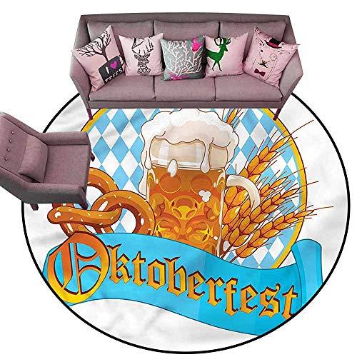 Large Floor Mats for Living Room Colorful Oktoberfest,Freshening Lager Beer Diameter 48