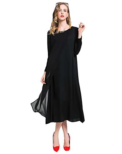 fc6b46f973d Image Unavailable. Image not available for. Color: VOA Women's Solid Black Scoop  Neck Long Sleeve Silk Maxi Dress A6015