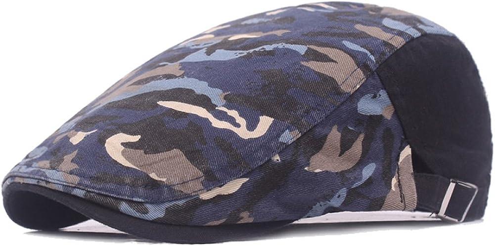 Men Camouflage Newsboy Berets Hat Outdoor Travel Flat Cap Adjustable Caps