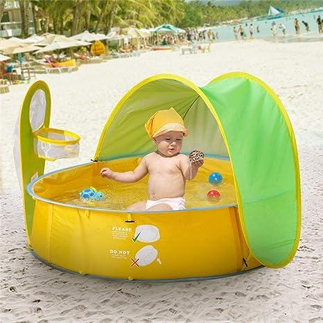 Tienda Playa Bebe Pop Up, Piscina de bolas para bebés con parasol Protección anti UV para jugar Pelotas o Refugio de agua Portátil para verano Playa ...