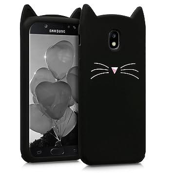 kwmobile Funda para Samsung Galaxy J5 (2017) DUOS - Carcasa Protectora de Silicona y diseño con Gato - Cover Trasero de móvil