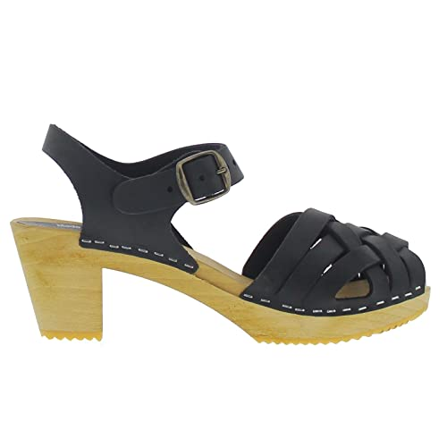 33aa793f7a3f44 Lotta From Stockholm Swedish Clogs   Moheda Betty High Heel Clog in Black Nubuck  Leather  Amazon.co.uk  Shoes   Bags