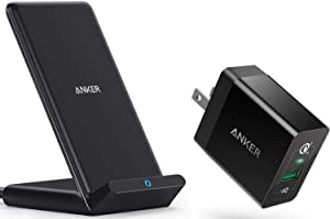 Anker PowerWave Stand with Adapter Bundle, Upgraded 10W Max Wireless Charging Stand, 18W Quick Charge 3.0 Wall Charger