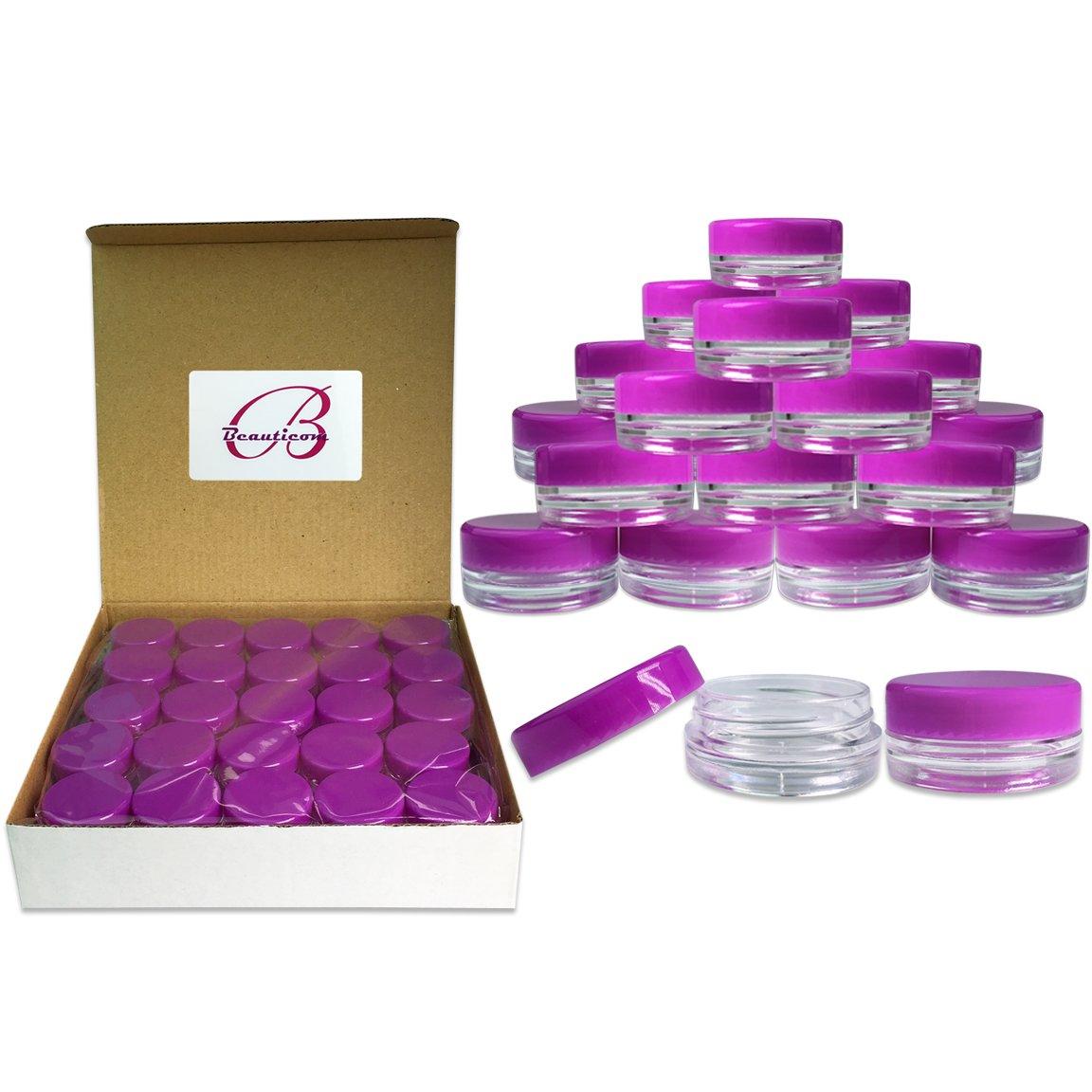 (Quantity: 100 Pieces) Beauticom 3G/3ML Round Clear Jars with PURPLE Lids for Scrubs, Oils, Toner, Salves, Creams, Lotions, Makeup Samples, Lip Balms - BPA Free