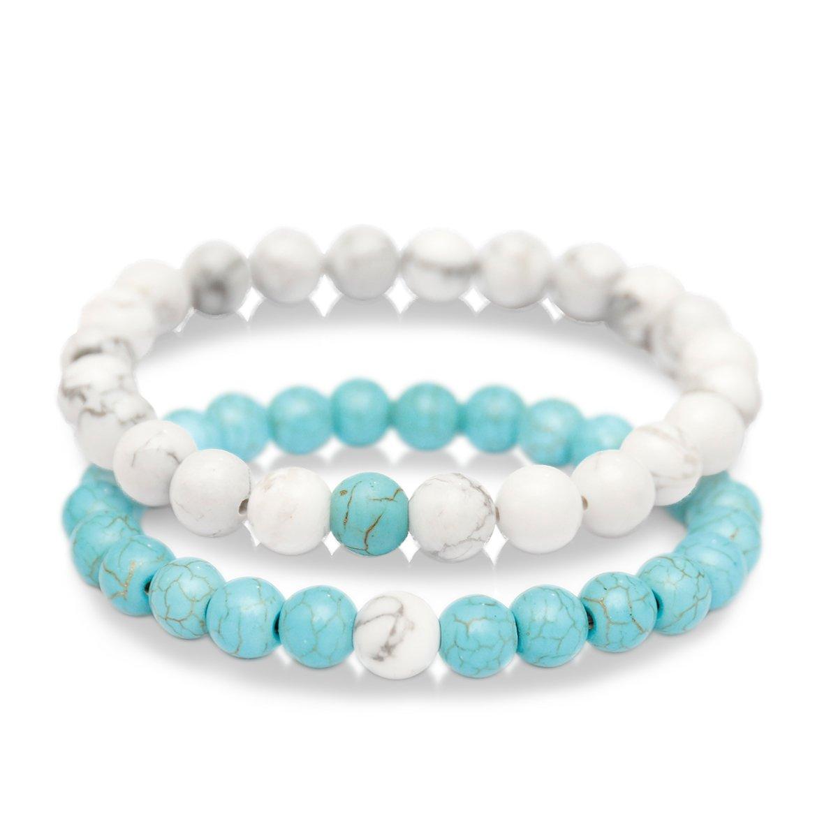 Zhepin 8mm Bracelets Set Mom Daughter for Girls Bracelet Women Men Gift Heart Bracelet for Lovers Sisters Best Friends