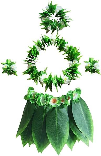 Amosfun Falda Hawaiana de Hula con Conjunto de Hojas Verdes y ...