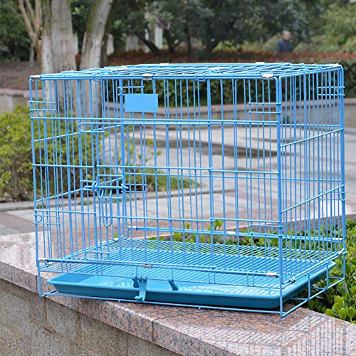 ZISITA Dog Crate Foldable Pet Cat Cage Kennel Double-Door Easy Install Pink Blue for Small Pet,M