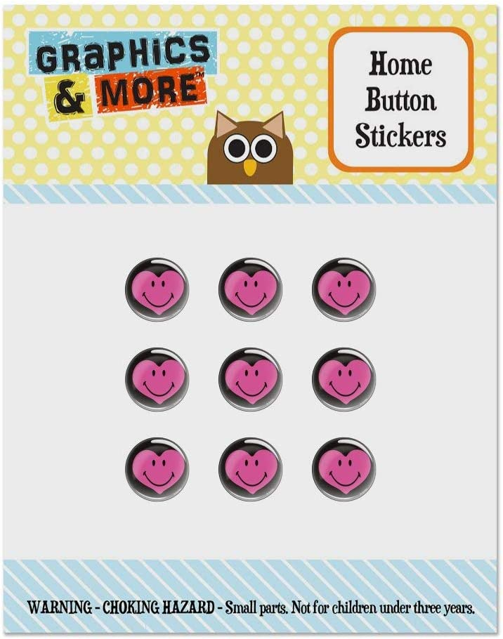 Smiley Smile Happy Pink Heart Love Romantic Face Set of 9 Puffy Bubble Home Button Stickers Fit Apple iPod Touch, iPad Air Mini, iPhone 5/5c/5s 6/6s 7/7s Plus