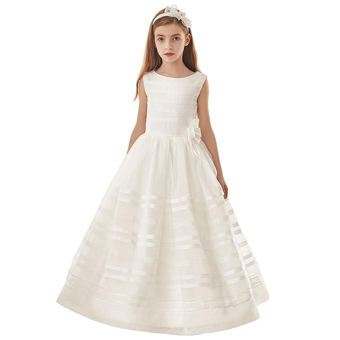 Vestido de comunión Vestido de fiesta de organza blanco con cuello joya de manga corta (