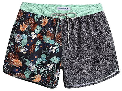 MaaMgic Mens Boys Short 80s 90s Vintage Swim Trunks with Mesh Lining Quick Dry Swimming Trunks Bathing -