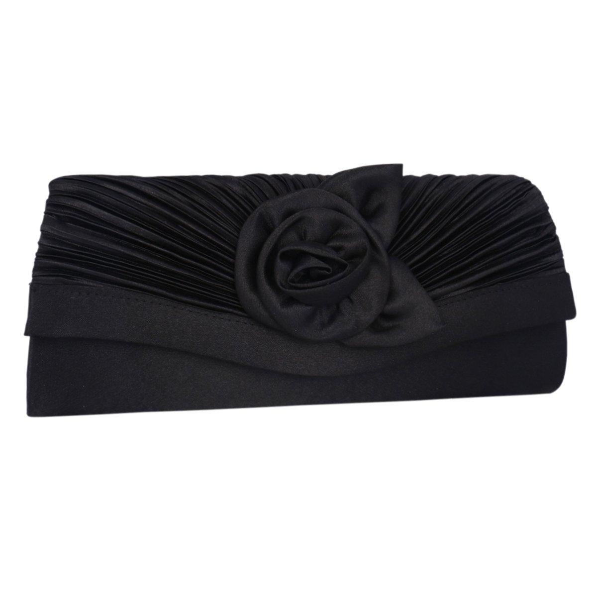 Adoptfade Womens Pleated Flower Evening Clutch Satin Vintage Dinner Bag,Black