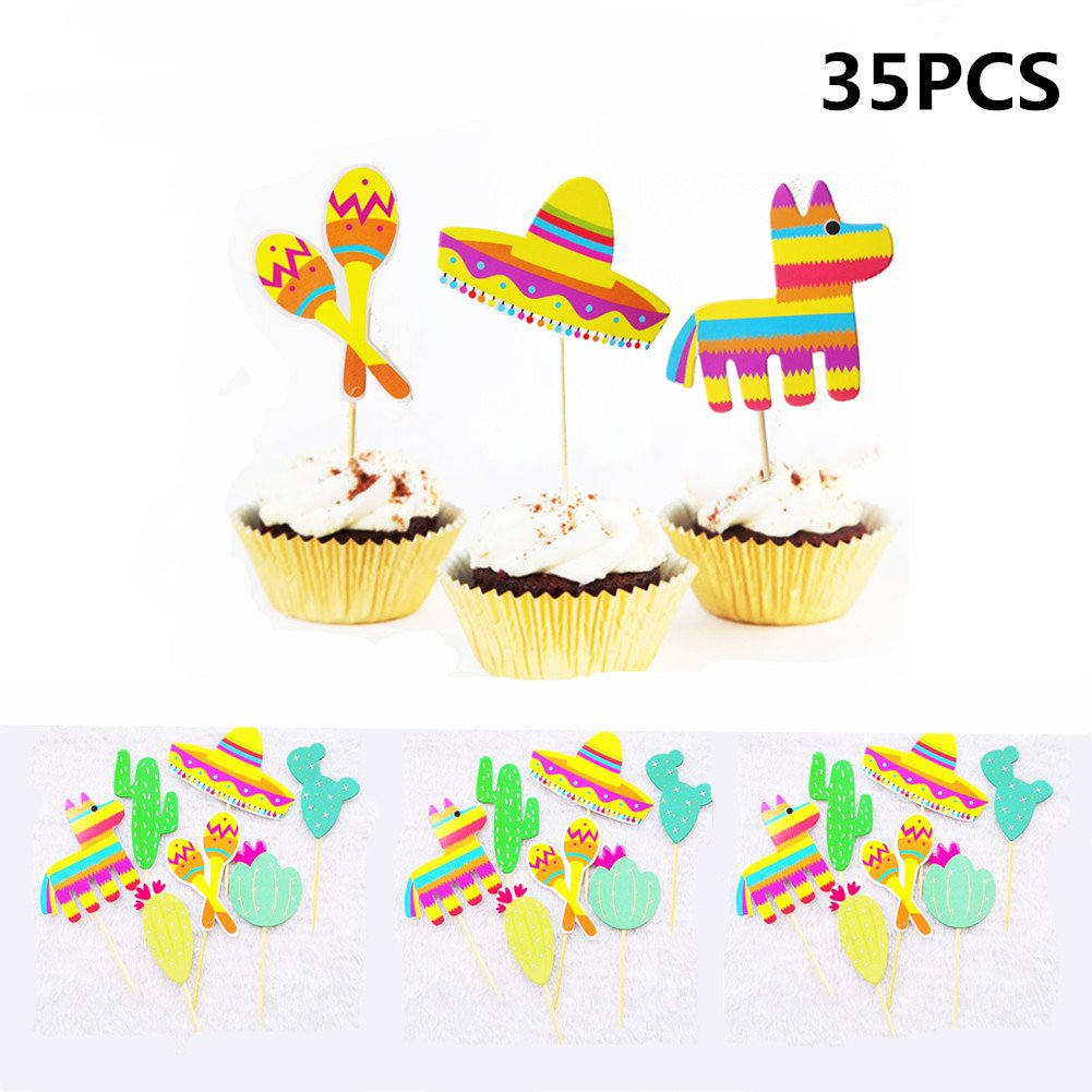 Mexican Fiesta Party Striped Decorative Cupcake Topper - Set of 35