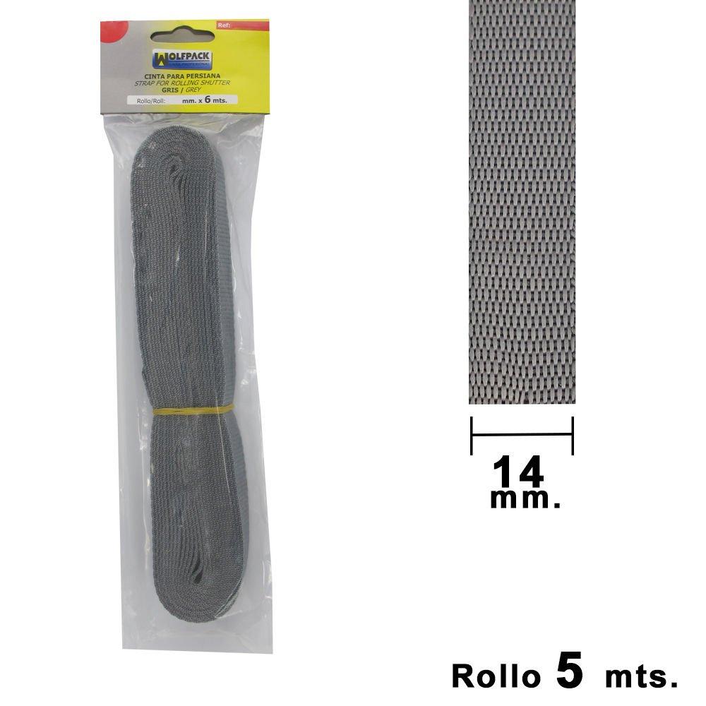 Wolfpack 5250003 Cinta Persiana Gris 14 mm. Rollo 5 Metros